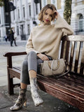 Solid Color basic Loose High Collar Lazy Wind Sweater - Khaki - bohosecret
