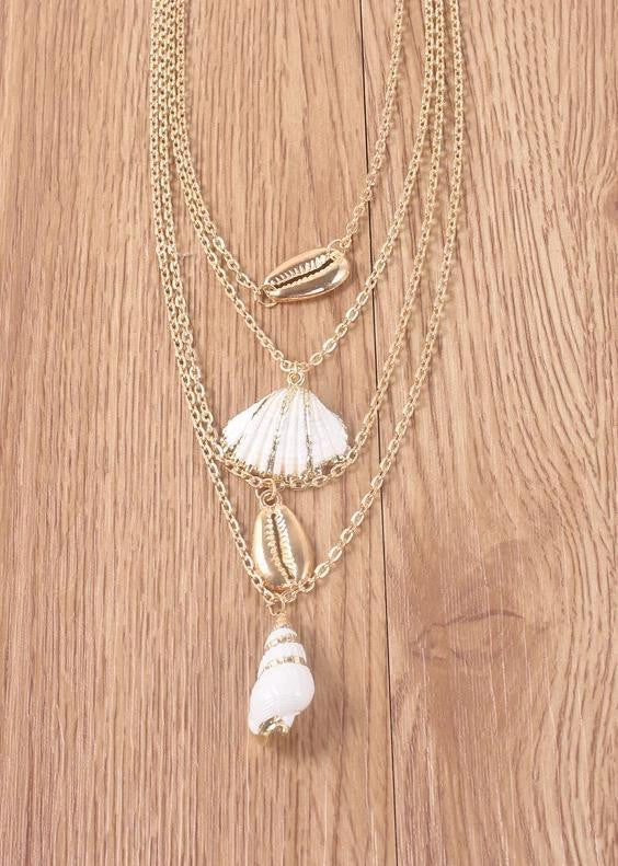 Bohemian Shell Conch Multi-layer Clavicle Chain Necklace - bohosecret