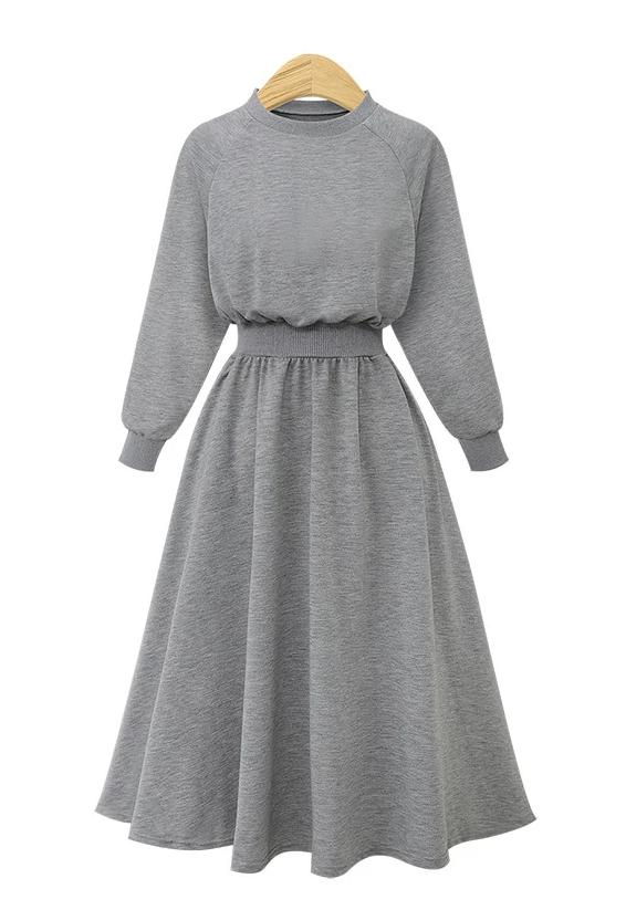 Slim Retro Waist Long Sleeve Casual Midi Dress - Grey - bohosecret
