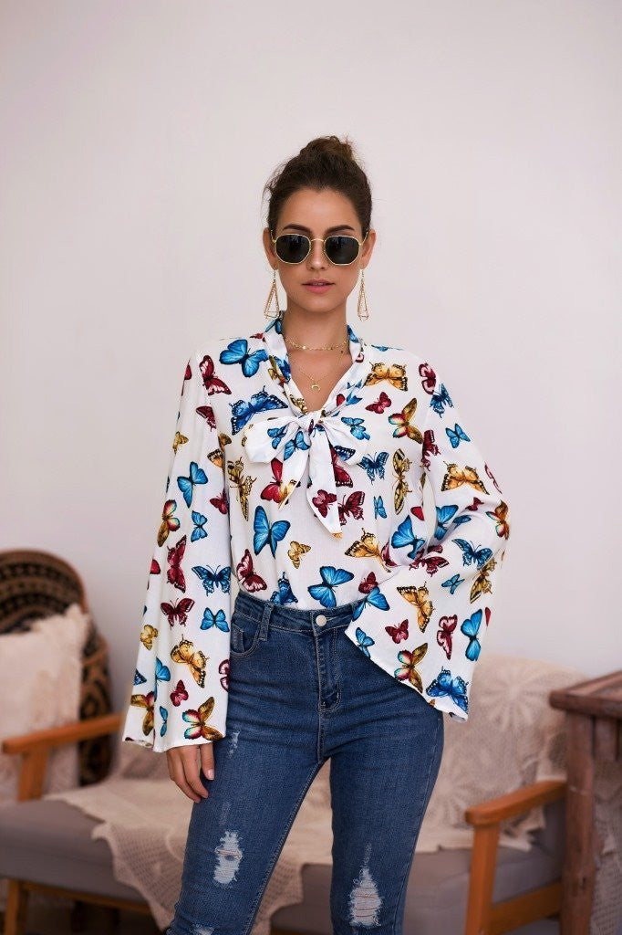 Bow Tie Printed Trumpet Sleeve Blouse Tops - White - bohosecret