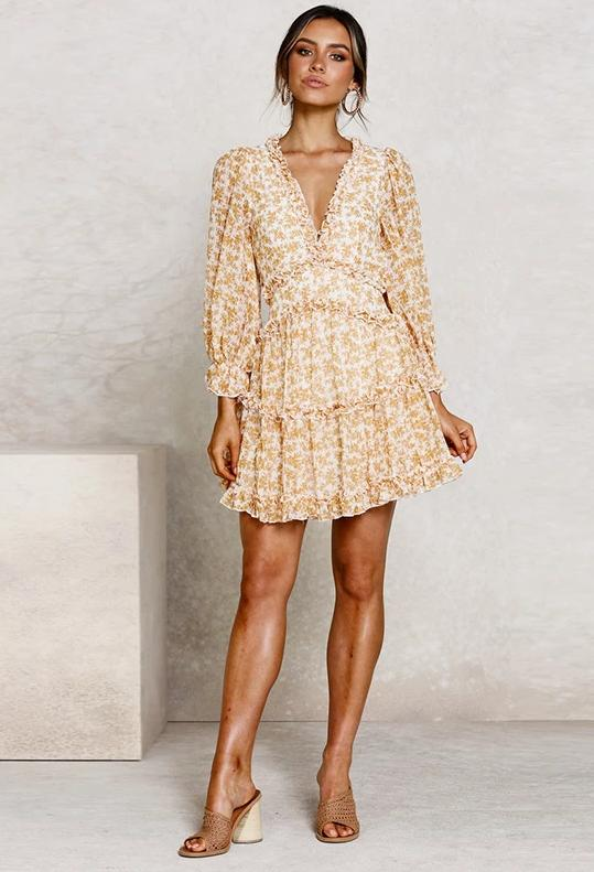 Floral Long Sleeve Ruffled Boho Mini Dress - bohosecret