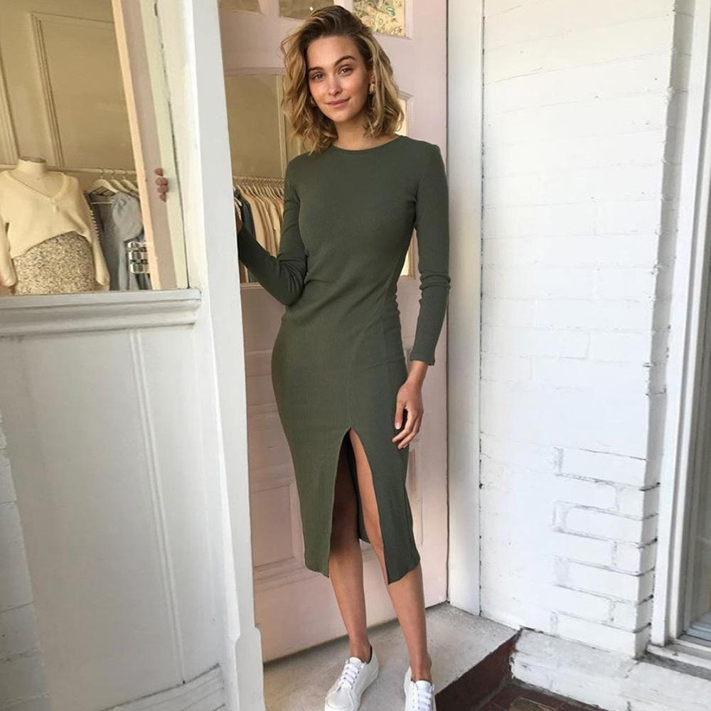 Round Neck Long Sleeve Super Fashion Casual Midi Dress - bohosecret