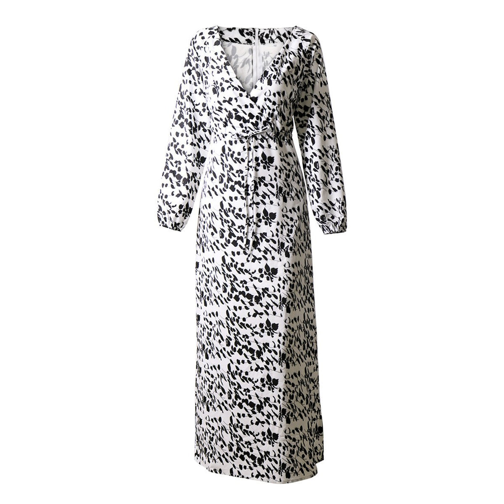 V-neck Printed Long-Sleeved Fashion Maxi Dress - bohosecret