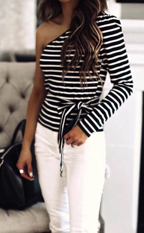 One-Shoulder Striped Fashion Ladies T-shirt - bohosecret