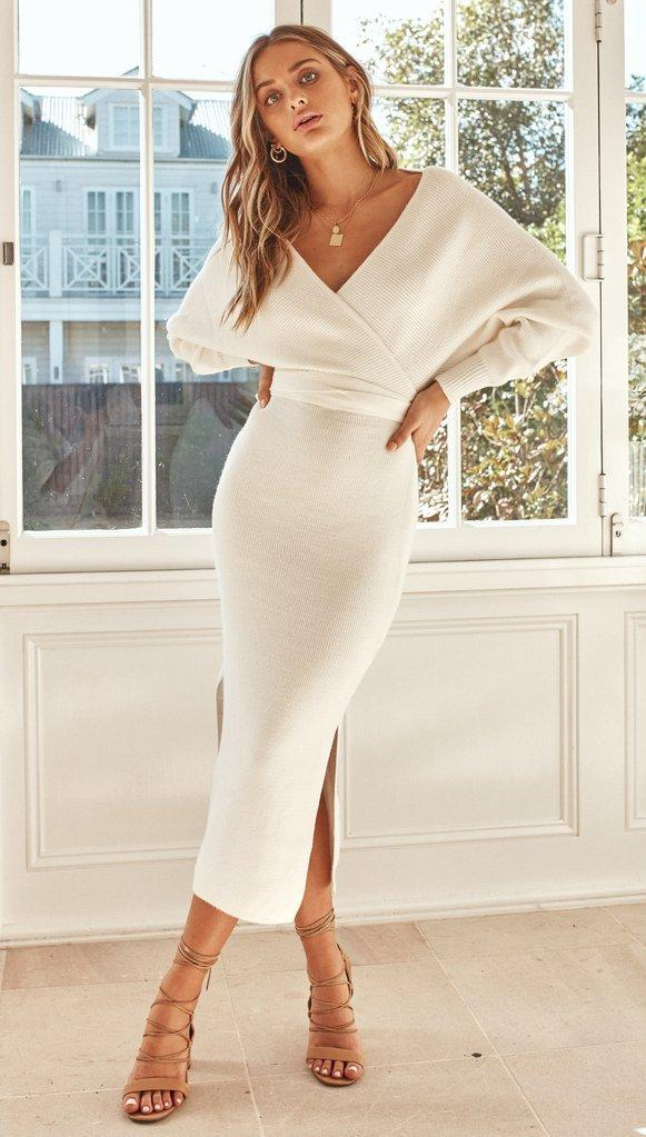 Hot Sexy Deep V Open Back Pencil Skirt Slim Mid-length Dress - bohosecret