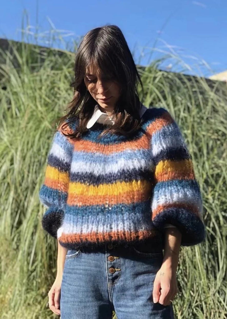 Lazy Wind Color Striped Pullover Sweater - bohosecret