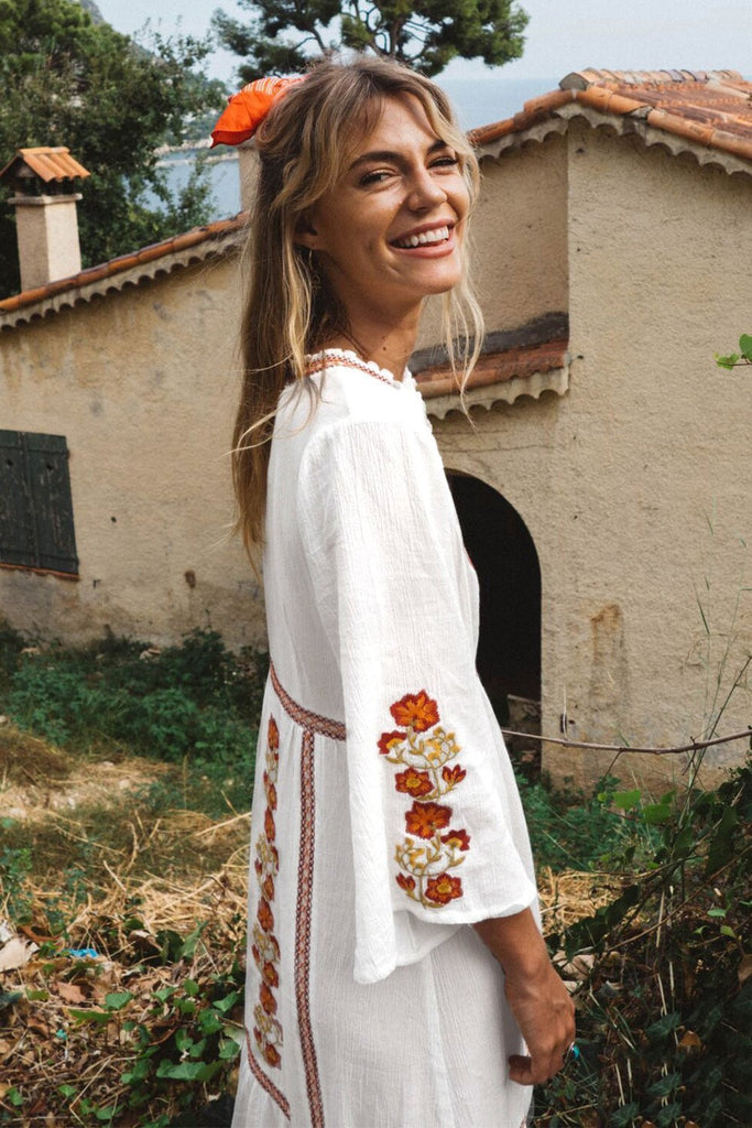 Bohemian Holiday Dress With V-neck Embroidery Maxi Dress - White - bohosecret
