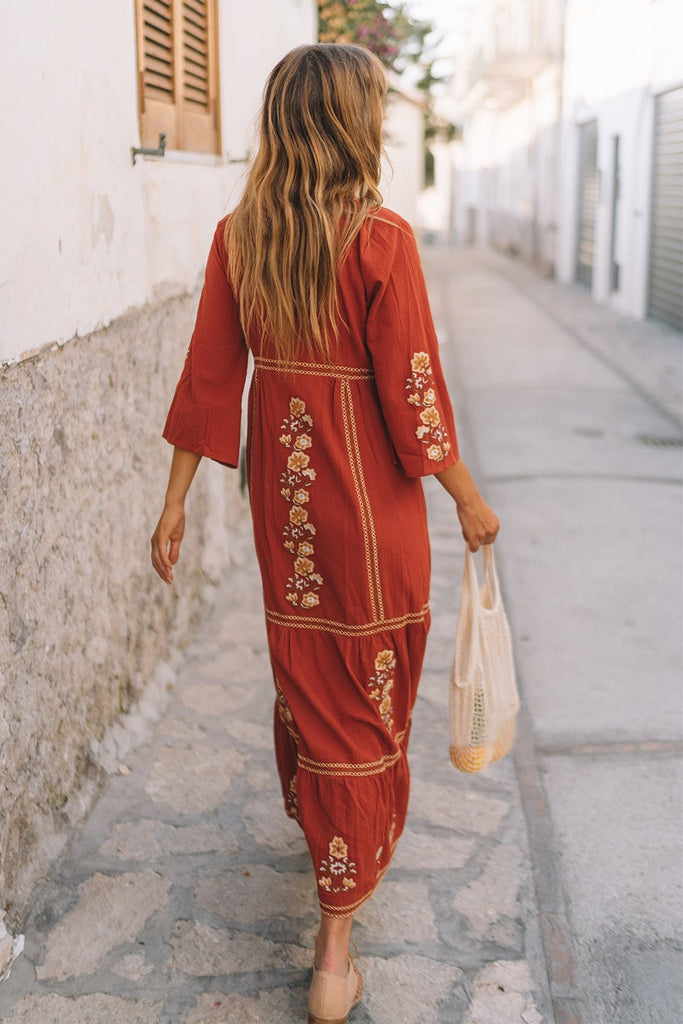Bohemian Holiday Dress With V-neck Embroidery Maxi Dress - Red - bohosecret