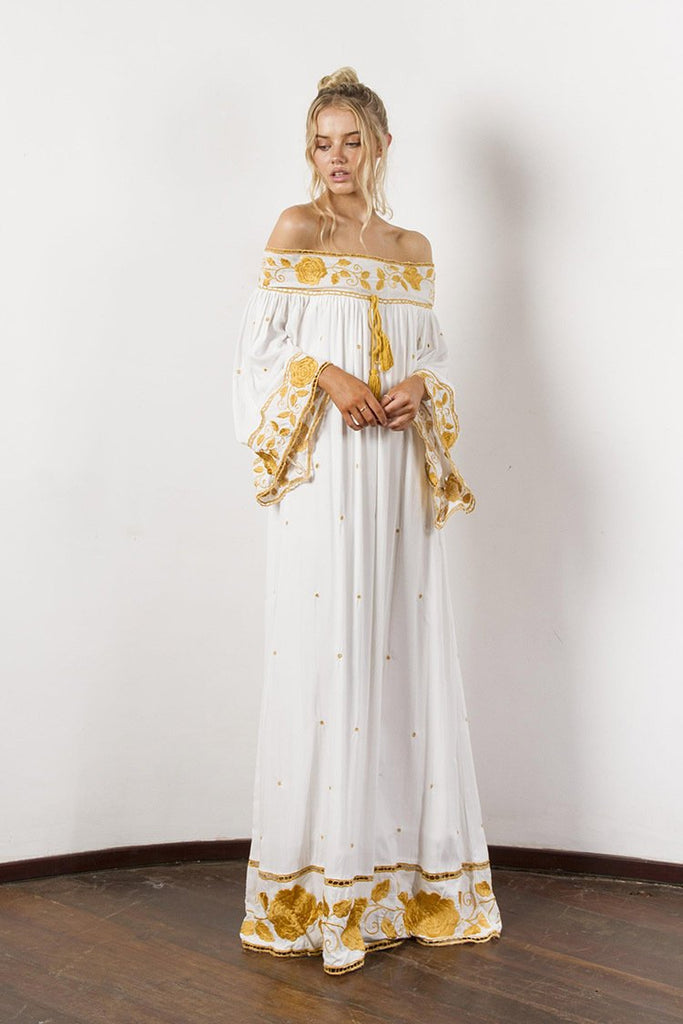 High Quality  Strapless Long  Embroidery Boho Dresses - bohosecret