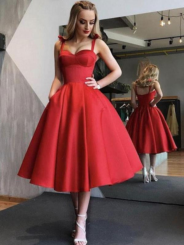1950S Red sweetheart short prom dress, red homecoming dress - bohosecret