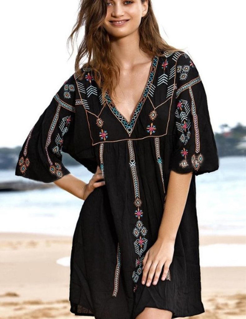 Black Embroidery Floral Beach Cover-ups - bohosecret