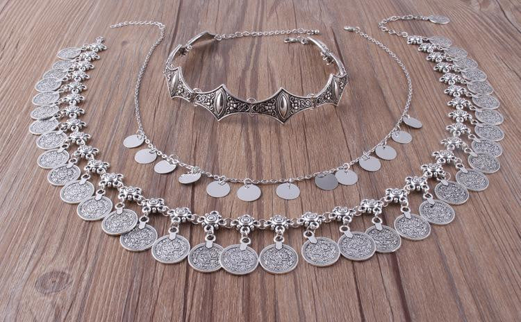 Bohemian Carved Flower Silver Coin Necklace Suits - bohosecret