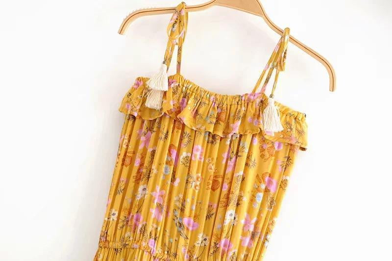 Accidental Yellow Wildflowers Bohemian Maxi Dress - bohosecret