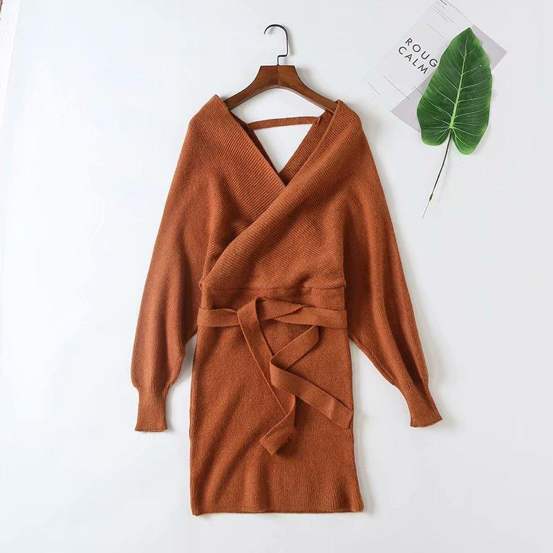 Slim Strapless Tie Sweater Knitting Dress-5color - bohosecret