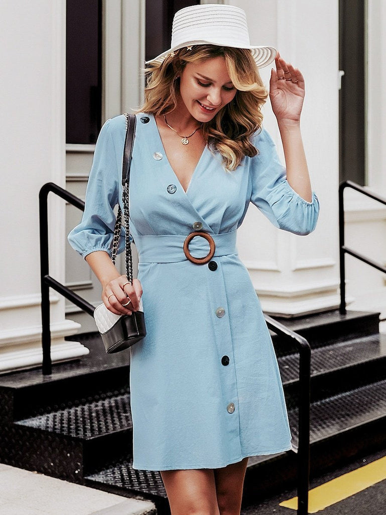 Casual Button Front Surplice Neck Ring Belt Dress - bohosecret
