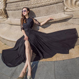 Chiffon Black Lace Holiday Dress - bohosecret