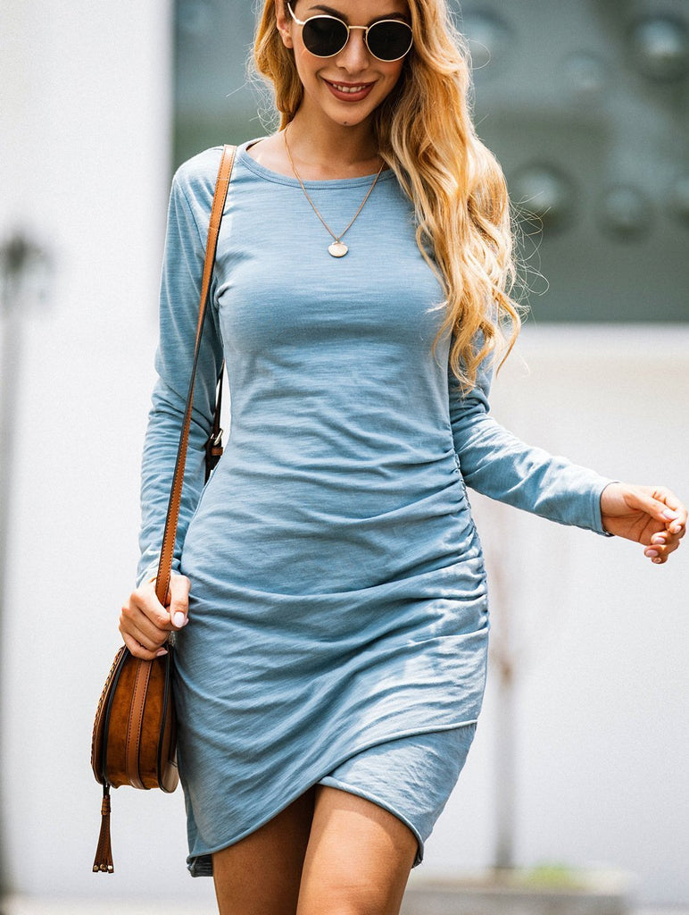 Irregular Long Sleeve Female Bodycon Dress-5color - bohosecret