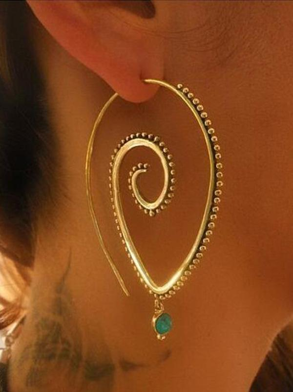 Vintage Retro Alloy Hollow Earrings Accessories - bohosecret