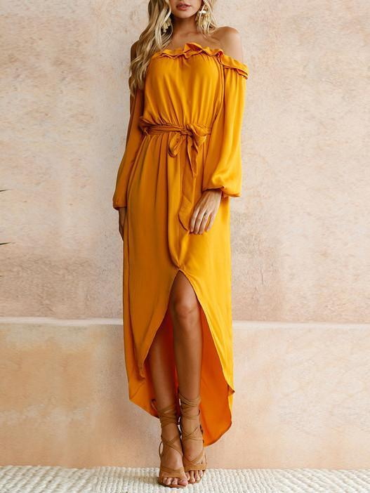Women Belted Off Shoulder Long Sleeve Split Dress - bohosecret