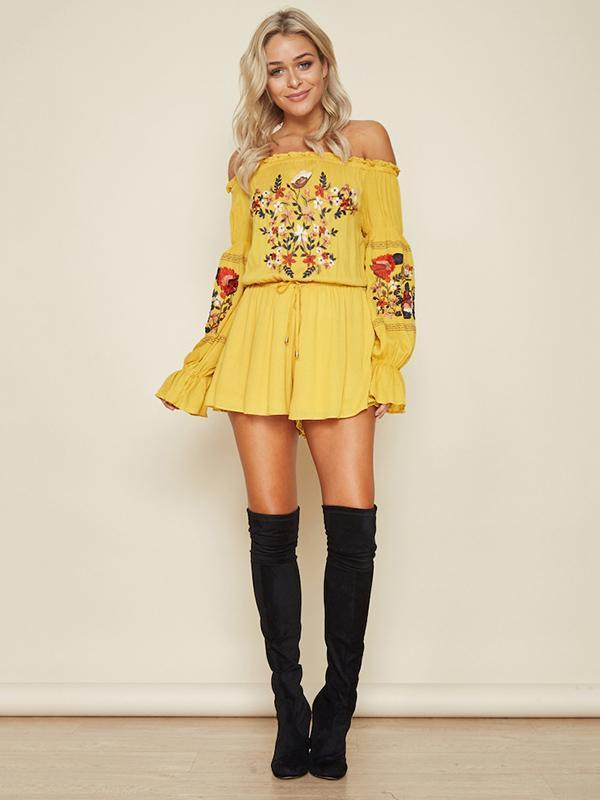 Women Cotton Yellow Mini Dress Beach Off Shoulder Bottom - bohosecret