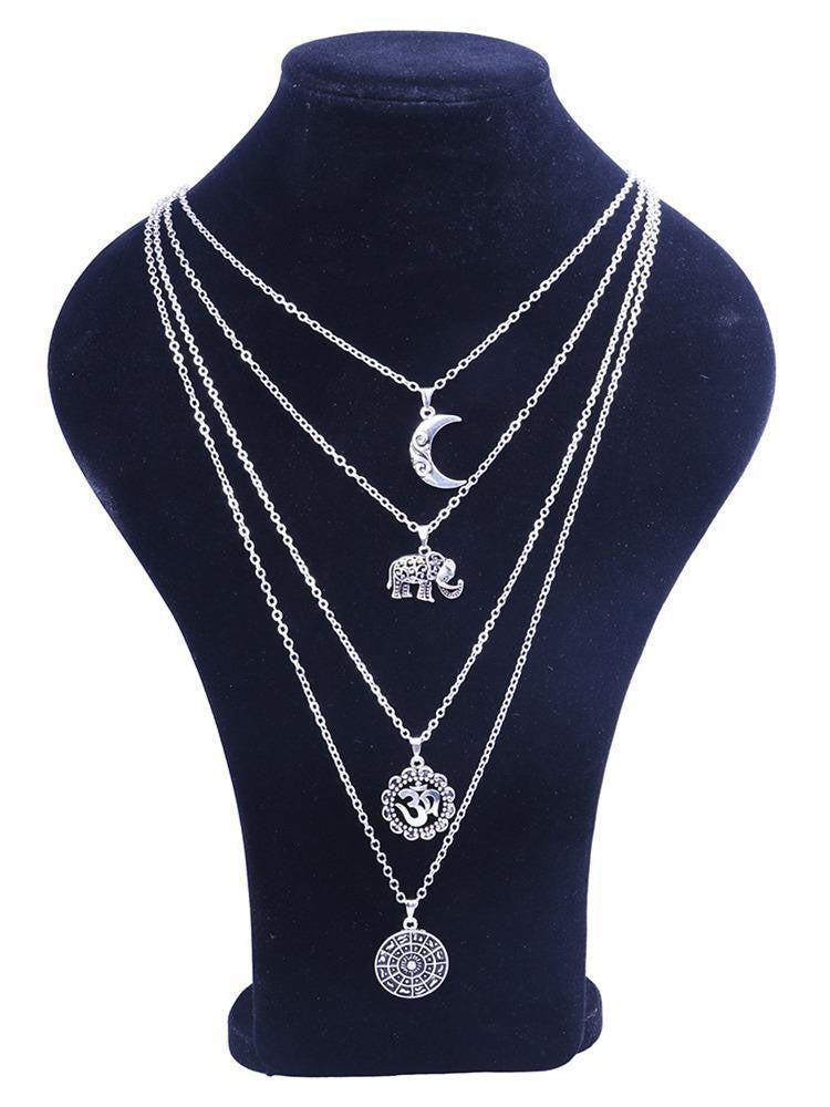 2PCS Moon&Eleghant Alloy Necklaces Accessories - bohosecret