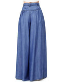 Simple Solid Color Big Hem Wide Leg Bottom Casual Pants - bohosecret