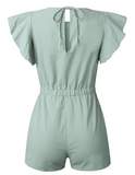 Cotton Casual Ruffle Sleeve Romper - bohosecret