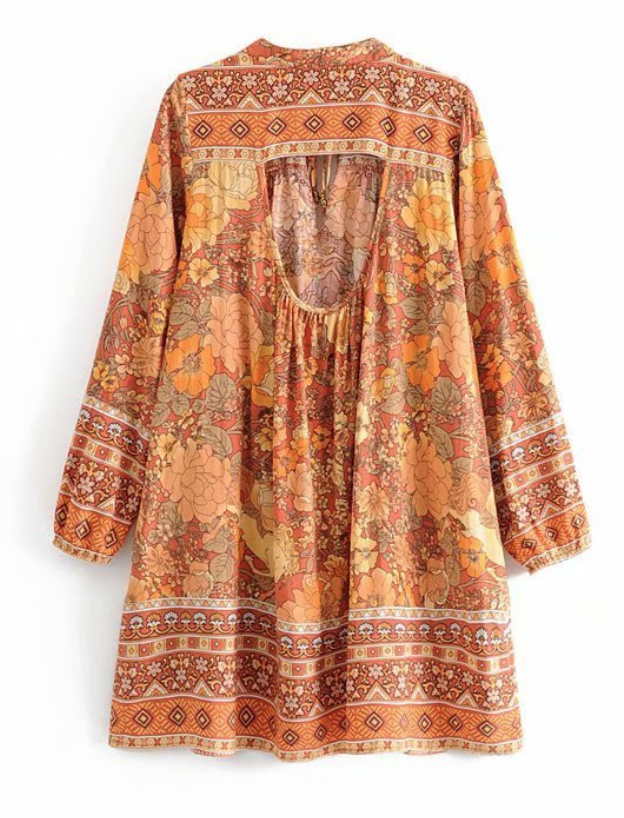 Bohemian Printed Cut-out Loose Dress - bohosecret