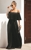 Bohemian Off Shoulder Pleated Dress-2color - bohosecret