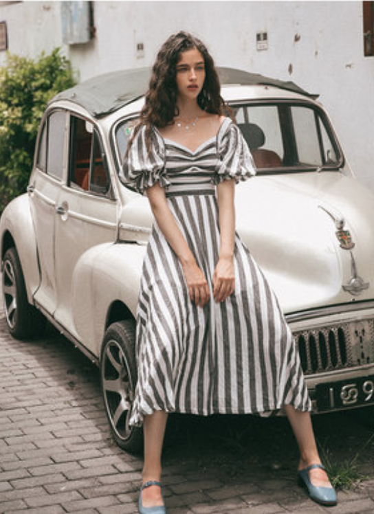 Paradise Retro Puff Sleeve Striped Midi Dress - bohosecret