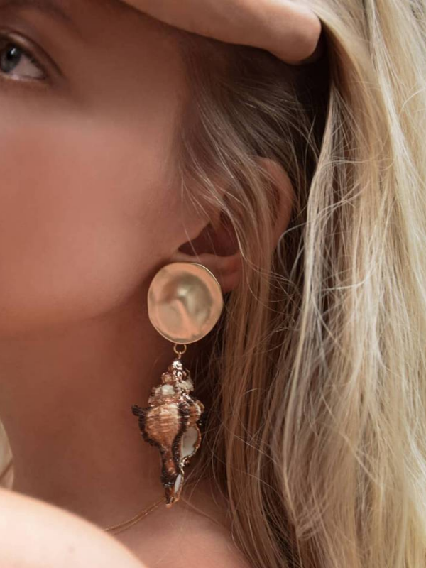 Bohemian Natural Gold-plated Conch  Beach Wind Earrings - bohosecret