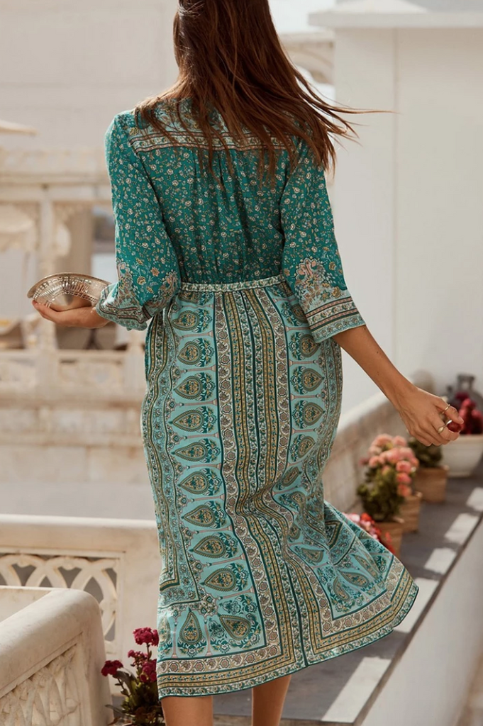 Bohemian Breasted Tassel Rhapsody Midi Dress - bohosecret