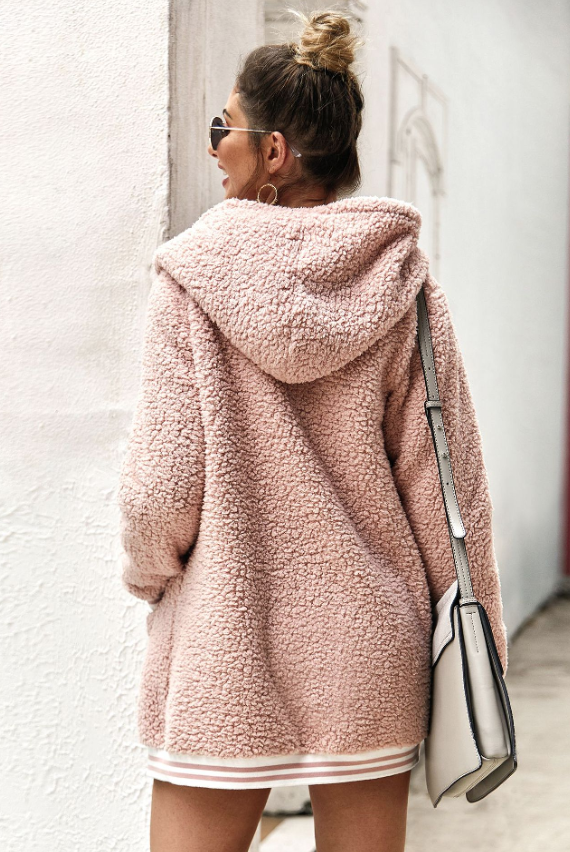 Pink Autumn Hooded fur coat cardigan - bohosecret