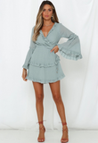 Solid Color Long-sleeve Halter Dress - bohosecret