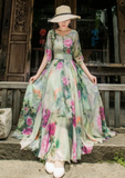 Chiffon Lotus Vacation Dress-2color - bohosecret