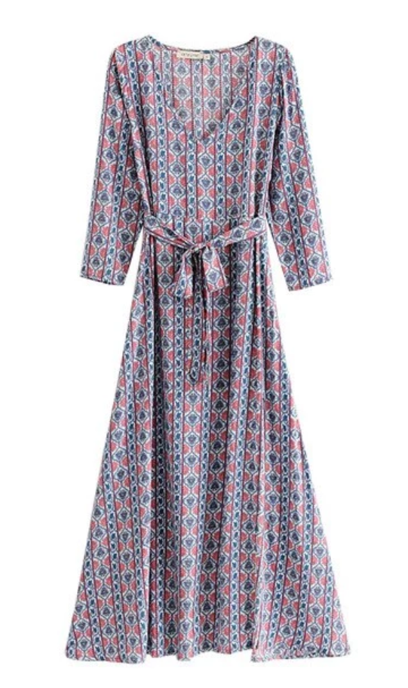 Blue River Bohemian Tie Maxi Dress - bohosecret