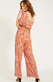 Backless Strap Orange Floral Jumpsuit - bohosecret