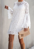 Lace-paneled Long-sleeved Mini Dress-5color - bohosecret