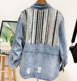 Sequined Striped Contrast Denim Jacket - bohosecret