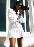 Vacation Lapel White knit dress - bohosecret