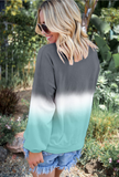 Casual Cradient Color Round Neck Loose Sweatshirt-10color - bohosecret