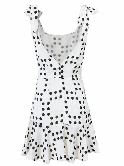White Scoop Neck Polka Dot Open Back Ruffle Hem Mini Dress - bohosecret