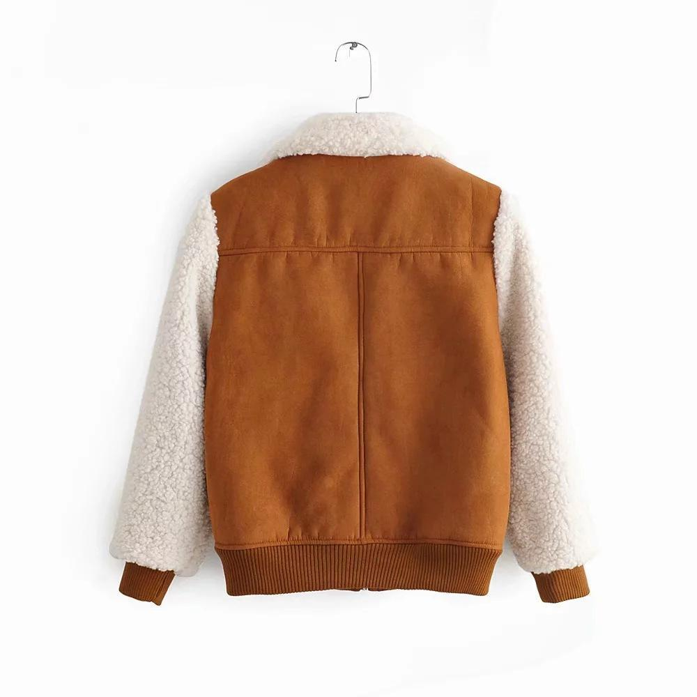 Plush & Suede Brown Stitching Jacket Coat - bohosecret