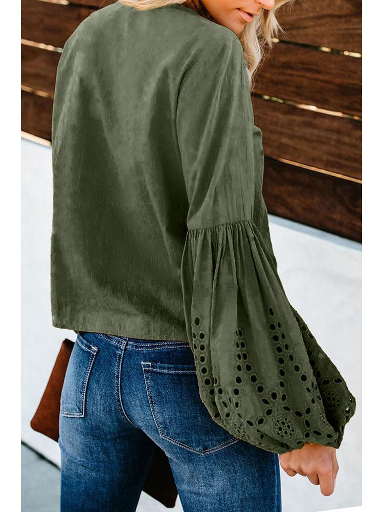 V-neck long-sleeved Loose Knotted Top-5color - bohosecret