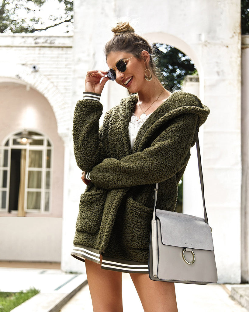 Green Autumn Hooded fur coat cardigan - bohosecret