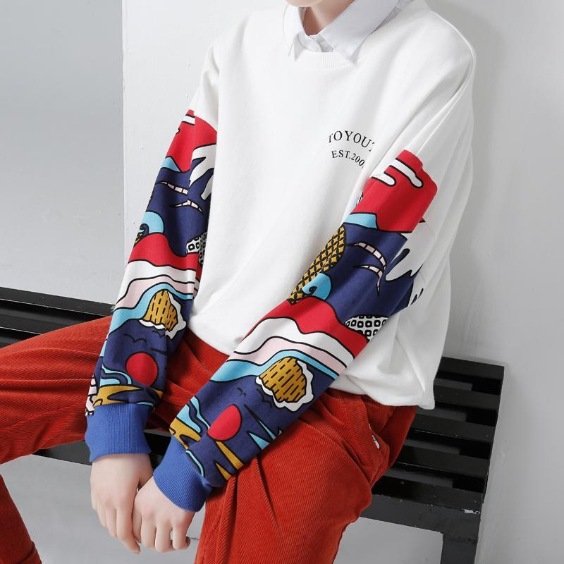 Women Loose Colorful Printing Casual Pullovers Sweatshirt - bohosecret