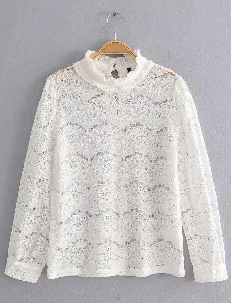 Hollow Stand Collar Long Sleeve Lace Top - bohosecret