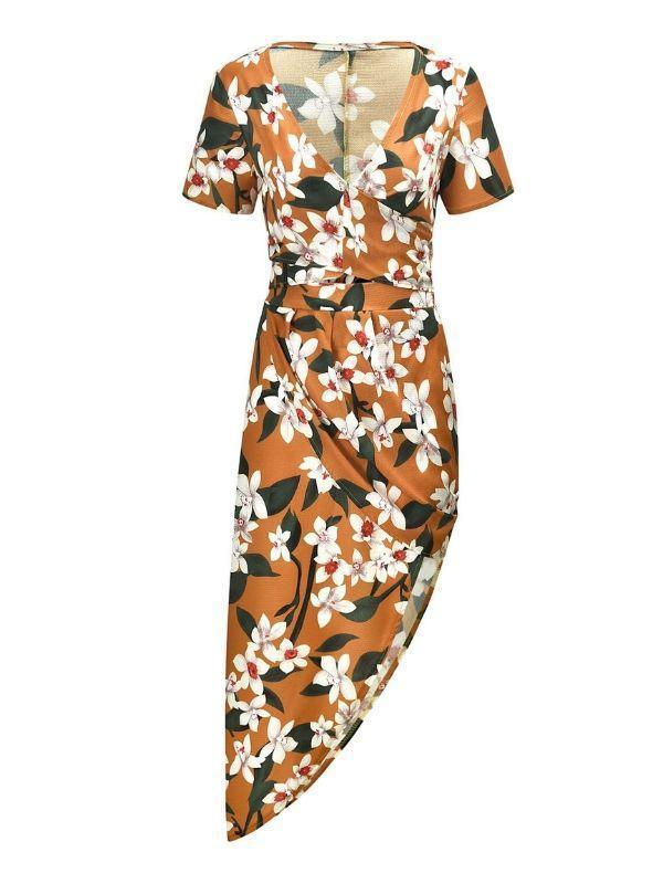 Sexy V-neck printed chiffon skirt two-piece suit - bohosecret