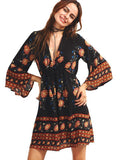 Women Print Floral long sleeve vintage bohemian bodycon Dress