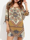 Women mini vintage bohemian  print floral bodycon Dress - bohosecret